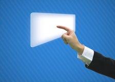 Mano di affari che indica lo spazio in bianco dello schermo Immagini Stock Libere da Diritti