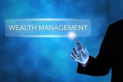 Mano di affari che spinge il bottone della gestione di ricchezza Immagine Stock