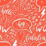 Mano di calligrafia che segna modello con lettere senza cuciture Segni positivi, stella, cuore, fumetti, forme geometriche Perfez immagini stock