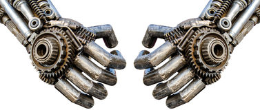 Mano di cyber metallico o robot fatto dai cricchi meccanici BO Fotografia Stock
