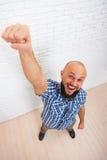 Mano di Excited Hold Fist dell'uomo d'affari sul gesto Immagine Stock Libera da Diritti