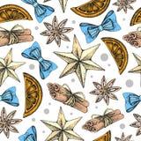 Mano di festa di Natale che disegna modello senza cuciture Attributi di Natale royalty illustrazione gratis