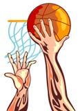 Mano di pallacanestro con la sfera illustrazione vettoriale
