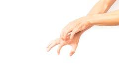 Mano di scratch della mano dell'uomo su fondo bianco Fotografie Stock Libere da Diritti