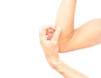 Mano di scratch della mano dell'uomo su fondo bianco Fotografie Stock