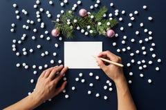 Mano di scrittura, blu scuro, cartolina di Natale Fotografie Stock