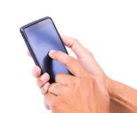 Mano di tocco sullo Smart Phone Immagine Stock Libera da Diritti