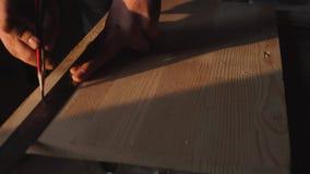 Mano di un carpentiere che prende misura di una plancia di legno fondo del ob del chiarore del sole archivi video