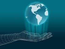 Mano di Wireframe con il globo illustrazione di stock