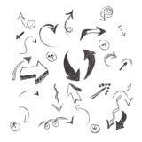 Mano, dibujada, bosquejo, flecha, colección, vector, ejemplo Imágenes de archivo libres de regalías