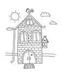 Mano dibujada a casa Vector del chalet Libro de colorear de la casa Aldea de la historieta stock de ilustración