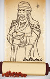 Mano dibujada de hombre sabio en voluta con mirra: Baltasar, ejemplo del vector stock de ilustración