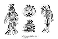 Mano dibujada de los diablos para la celebración de Halloween libre illustration