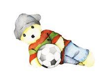 Mano dibujada de Teddy Bear Playing Soccer Ball lindo Imágenes de archivo libres de regalías