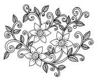 Mano dibujada del ejemplo de las flores ilustración del vector