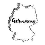 Mano dibujada del mapa de Alemania, ejemplo del vector Imagenes de archivo