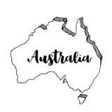 Mano dibujada del mapa de Australia, ejemplo Imágenes de archivo libres de regalías