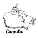 Mano dibujada del mapa de Canadá, ejemplo Fotografía de archivo