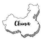 Mano dibujada del mapa de China, ejemplo del vector Foto de archivo