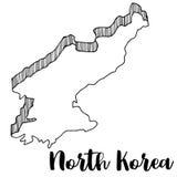 Mano dibujada del mapa de Corea del Norte  Fotos de archivo
