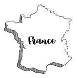 Mano dibujada del mapa de Francia, ejemplo Imagenes de archivo