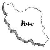 Mano dibujada del mapa de Irán Fotografía de archivo