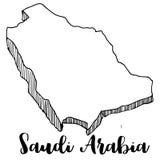 Mano dibujada del mapa de la Arabia Saudita Imagen de archivo libre de regalías