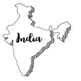 Mano dibujada del mapa de la India, ejemplo Fotografía de archivo libre de regalías