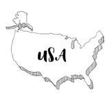 Mano dibujada del mapa de los E.E.U.U., ejemplo Imagen de archivo libre de regalías