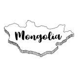Mano dibujada del mapa de Mongolia, ejemplo Foto de archivo