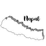 Mano dibujada del mapa de Nepal, ejemplo Fotos de archivo