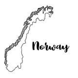 Mano dibujada del mapa de Noruega, ejemplo Fotos de archivo