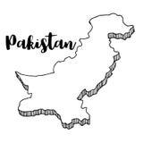 Mano dibujada del mapa de Paquistán, ejemplo Imagen de archivo libre de regalías