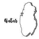 Mano dibujada del mapa de Qatar Foto de archivo