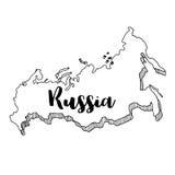 Mano dibujada del mapa de Rusia Imágenes de archivo libres de regalías