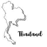 Mano dibujada del mapa de Tailandia Fotografía de archivo