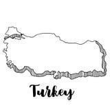 Mano dibujada del mapa de Turquía Imagen de archivo libre de regalías
