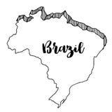 Mano dibujada del mapa del Brasil, ejemplo del vector Imagen de archivo