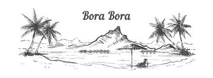 Mano dibujada, ejemplo de la isla de Bora Bora del Palm Beach del vector del bosquejo stock de ilustración