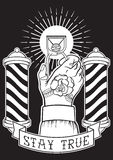 Mano dibujada mano del diseño del vintage con un tatuaje de la rosa Imagen de archivo