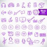 Mano dibujada, sistema del icono de la música del garabato Foto de archivo libre de regalías
