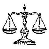 Mano dibujada, vector, EPS, logotipo, icono, crafteroks, ejemplo del vector EPS de la escala de la justicia de la silueta para di ilustración del vector