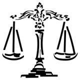 Mano dibujada, vector, EPS, logotipo, icono, crafteroks, ejemplo del vector EPS de la escala de la justicia de la silueta para di stock de ilustración