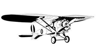 Mano dibujada, vector, EPS, logotipo, icono, crafteroks, ejemplo del vector EPS del monoplano de la silueta para diversas aplicac stock de ilustración