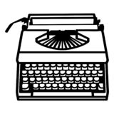Mano dibujada, vector, EPS, logotipo, icono, ejemplo de la máquina de escribir de la silueta por los crafteroks para diversas apl stock de ilustración
