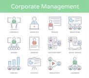 Mano dibujado línea icono del estilo fijado: Negocio Presentatio, hombres de negocios de la gestión, líder Training, audiencia y  Imagen de archivo libre de regalías