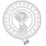 Mano disegnata a mano elegante di Buddha con il fiore Icone isolate di Mudra Meravigliosamente dettagliato, sereno Elementi decor Immagini Stock