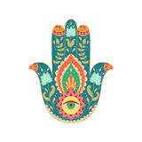 Mano disegnata a mano indiana di hamsa Fotografia Stock