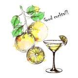 A mano disegno con il cocktail per progettazione Fotografie Stock Libere da Diritti
