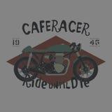 A mano disegno d'annata di vettore del motociclo del corridore del caffè di stile Immagine Stock Libera da Diritti